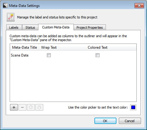 Scrivener Meta-Data Settings - Custom