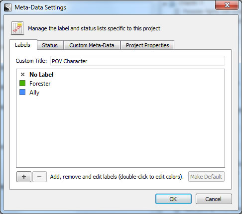 Scrivener Meta-Data Settings